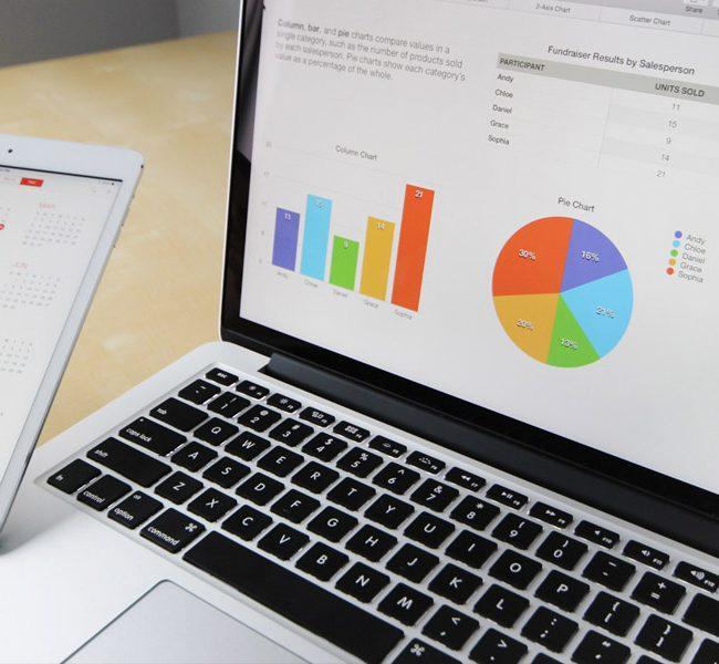 L'écran montre les graphiques d'un projet.