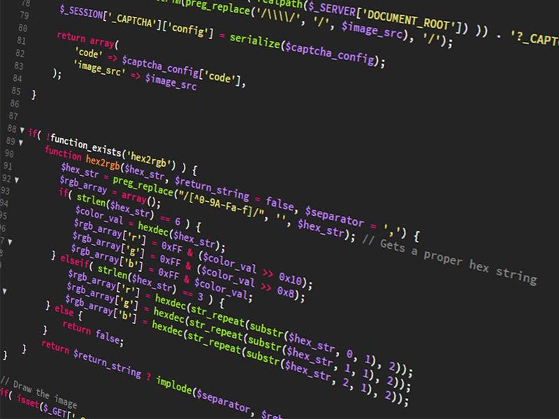 Écran d'ordinateur affichant un code.